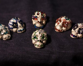 Rhinestoned Sugar Skull Embellishments/Hair Clip/Bead