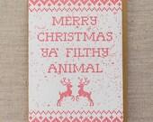 Filthy Animal Letterpress Christmas Card
