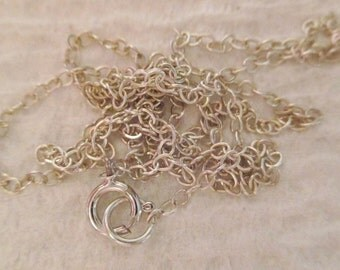 Sterling Silver Chain-Link Necklace signed .925 Unisex 17in Add a Charm or Pendant perfect for a young girl or a gift