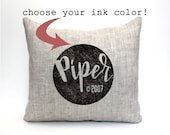 """baby gift, baby pillow, baby shower gift, child's name pillow, personalized pillow, birthday pillow - """"The Piper"""""""