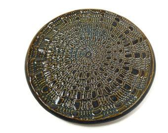 Ring Dish, Jewelry Holder, Trinket Dish, Jewelry Dish, Dark Blue Pottery Dish, Spoon Rest, Lace Dish, Blue Soap Dish, Wine Bottle Coaster