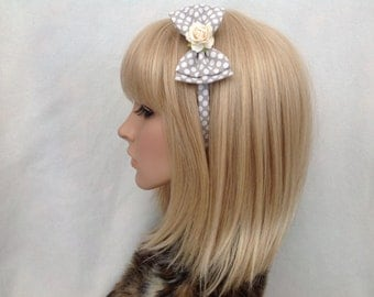 Grey white polka dot rose headband hair bow rockabilly psychobilly retro gothic Lolita cute pin up girl vintage shabby chic pretty