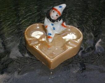 Vintage Japan Miniature Lusterware Clown Circus Heart Ceramic Ashtray Dish