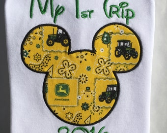 MICKEY Mouse-John Deere-My First Trip to Disney Personalized Embroidered-KIDS and ADULTS