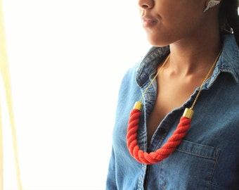 Hand Dyed Cotton Brass Rope Necklace