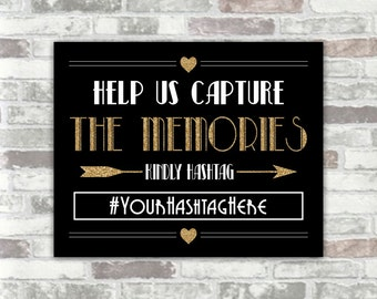 PRINTABLE DIGITAL FILE - Personalised 1920s inspired Art Deco Wedding Hashtag Sign - Black, Gold Glitter Effect, White -  8x10 New Year