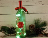 Christmas wine bottle lamp, hand painted, red poinsettia and holly