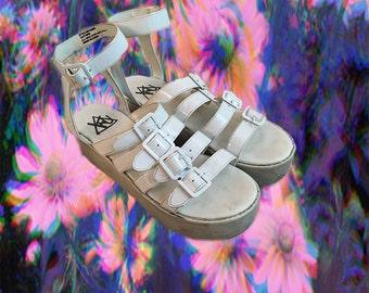 90's club kid caged white platform sandals
