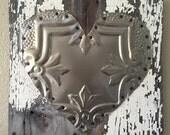 Rustic heart metal old ceiling tile wall art