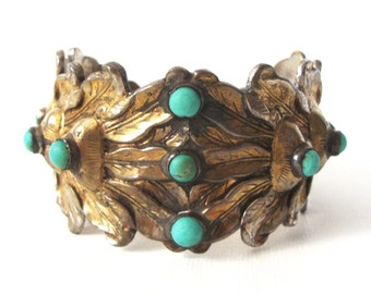 Antique gilt Chinese Cuff Bracelet With Turquoise