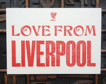LOVE from Liverpool postcard Letterpress card
