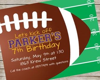 Football Invitation PIY file ~ Party decor invite Printable ~ Football Printable ~ Birthday Party Invite Digital File