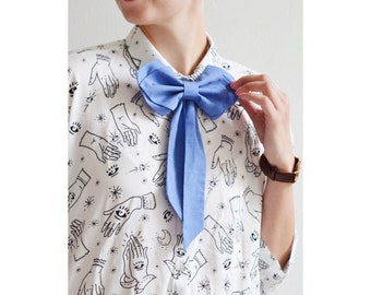 Blue Womens Bow Tie, Girls Bow Tie, Cute Blue Bow Tie