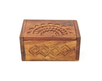 Boho Stash Box Carved Rustic Wood Chest Handmade Vintage