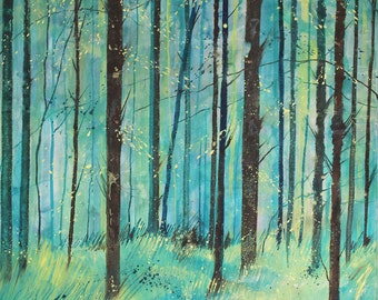 Original woodland painting on canvas, pine forest, canvas art, tree painting, woodland art, acrylic ink painting