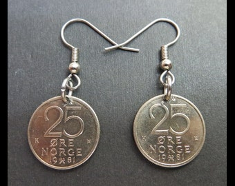 "Classic Antique (1981 Vintage Norway 25 Øre Olav V, ""Crowns"" Norwegian Copper-Nickel Coin Earrings w/ Stainless Steel Hooks) ROYALTY Charms!"