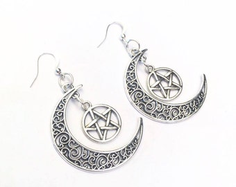 SALE Silver Pentagram Crescent Moon Earrings