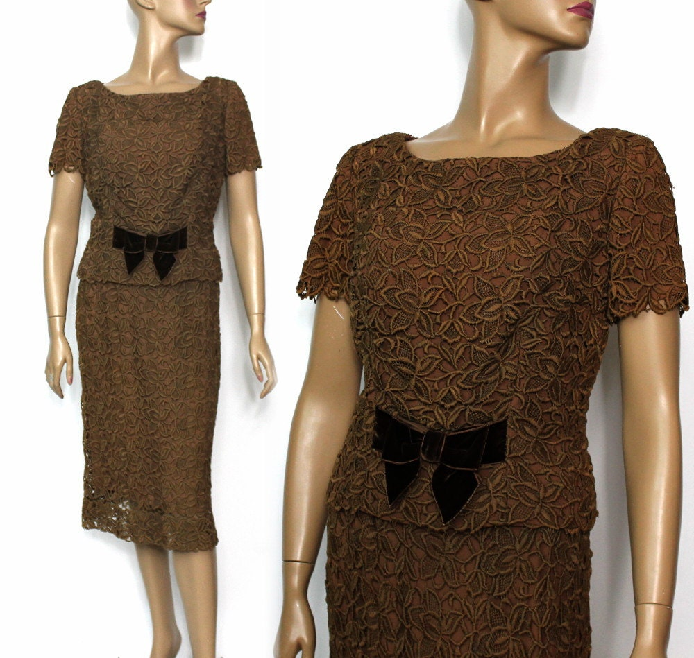 Vintage 1950s dress brown cord jackie kennedy cocktail dress for Cocktail jacqueline