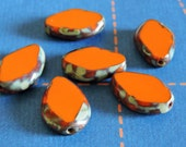 6 ~ Orange /Turquoise Picasso Sides 18x12mm Czech Glass Picasso Teardrop Beads