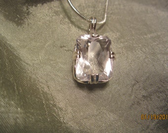 Natural Silver-Pink Kunzite Pendant with 24 inch Sterling Chain