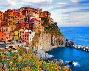 Fine Art Print - Cinque Terre - Manarola - Ready To Print 300dpi - Travel Art Print - Wall Decor - Instant Download