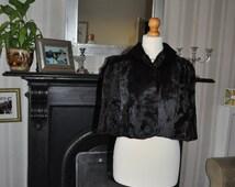 Vintage 1940/50s Broadtail Lamb/Swakara Fur Cape by Dominion Fur Company, Edinburgh,Scotland