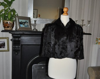 Vintage 1940/50s Broadtail Lamb/Swakara Fur Cape by Dominion Fur Company, Edinburgh,Scotland