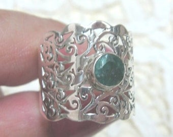 Faceted Emerald Sterling Silver Ring Size 9