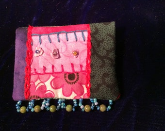 Small square crazy quilt pin brooch