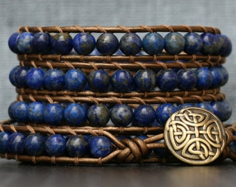 lapis lazuli wrap bracelet on bronze leather - boho gypsy bohemian - cobalt royal blue