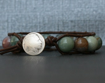 wrap bracelet- fancy jasper on dark brown leather- beaded leather single wrap bracelet