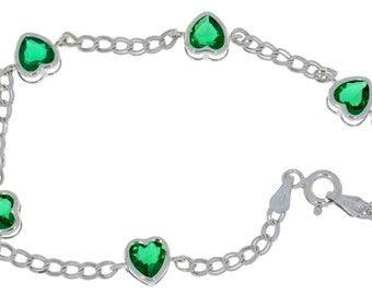 Emerald Heart Bezel Bracelet .925 Sterling Silver