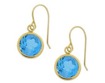 14Kt Yellow Gold Blue Topaz Round Bezel Dangle Earrings