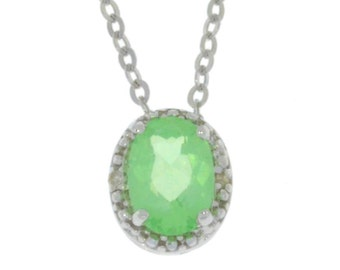1 Ct Green Sapphire & Diamond Oval Pendant .925 Sterling Silver