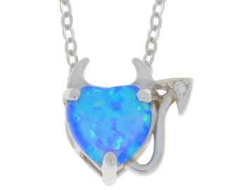 Blue Opal & Diamond Devil Heart Pendant .925 Sterling Silver