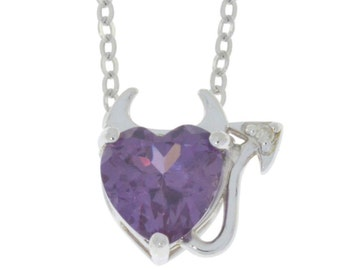 Alexandrite & Diamond Devil Heart Pendant .925 Sterling Silver