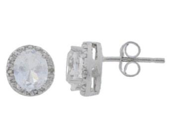 White Sapphire & Diamond Round Stud Earrings .925 Sterling Silver