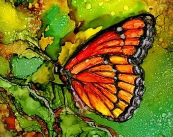 Trivet- Art Tile- Dye Sublimation Imprint of Alcohol Ink painting on Ceramic 6x6 Tile- Alcohol Inks- Butterfly
