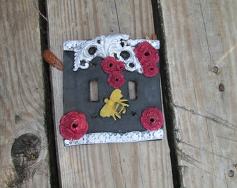 Bumblebee Light switchplate cover, resin light switch cover, handmade, one of a kind, hand painted,