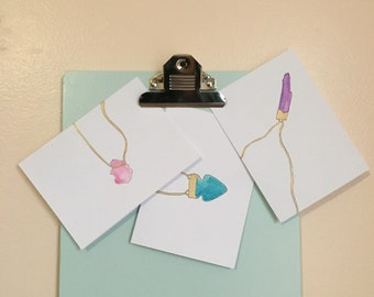 Hand Painted Gem Jewlery Greeting Cards (3) envelopes included