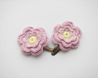 Crochet flower hair clips, Pale lilac flowers, set of 2, Girls hair accessories