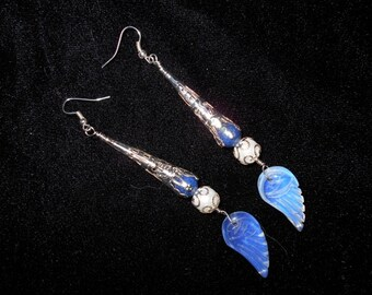 Delciate opalite wings leading into lapis and pearl earrings