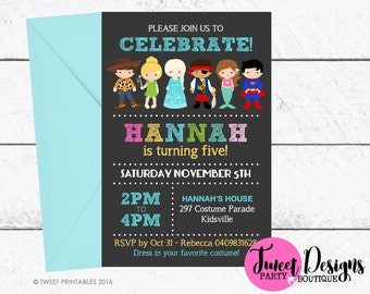 COSTUME PARTY INVITATION, Printable Birthday Invitation, Dress Up Party Girl Invitations, Girl Boy Costume Invitation, Costume Kids Invite