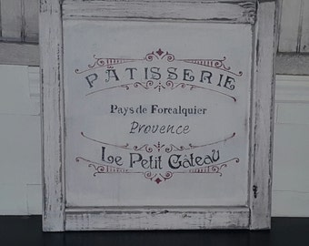Distressed, rustic  and vintage look French bakery sign/patisserie/kitchen/pastry shop