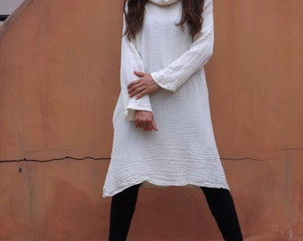 Cowl Neck Dress   ..Tunic Dress  ..ColorNatural Cotton ( slightly off white)