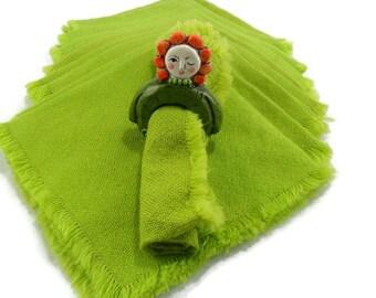 Lime Green Cloth Napkins * Set of 10 * 1970s Decor