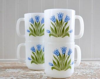 Vintage White Milk Glass Coffee Mug Set of 4 - Blue Flower Cup Bluebell