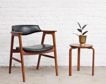 Erik Kirkegaard Teak Bullhorn Chair Danish Modern