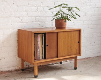 Walnut Media Cabinet Record Storage