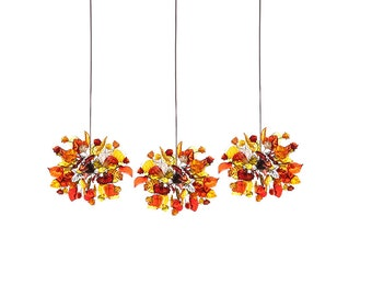 Triple Pendant Chandelier ceiling lighting -warm color flowers and leaves round shape for Kitchen Island, Dinning Room.